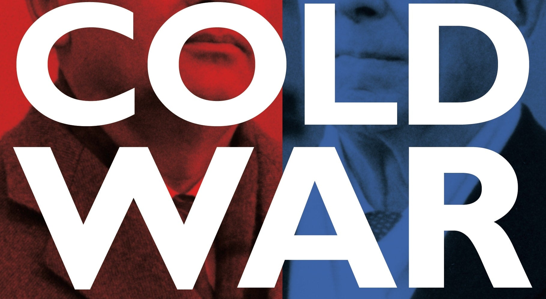 Cold War written on blue and red background