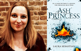 Laura Sebastian with long hair smiling in front of a brick wall next to her book Ash Princess