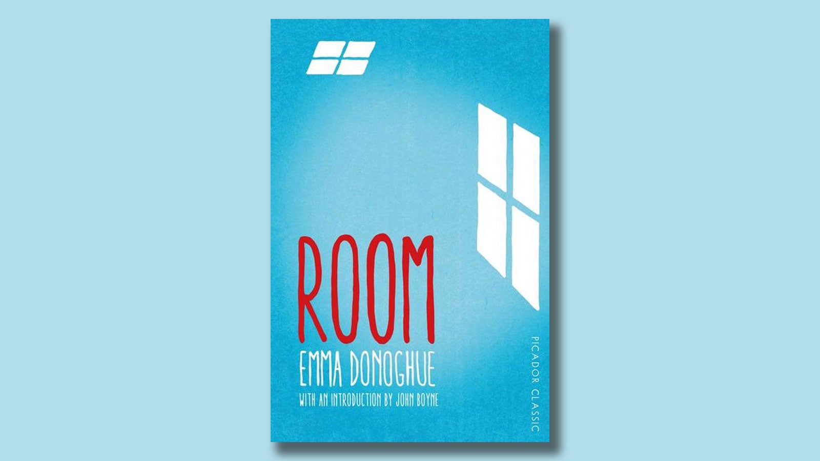 Book jacket for Room by Emma Donoghue on a light blue background