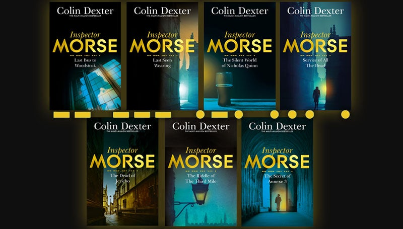 7 Inspector Morse books on a blurred eerie background