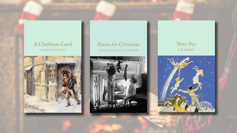 A Christmas Carol, Poems for Christmas and Peter Pan against a backdrop of a person reading in front of a crackling fire