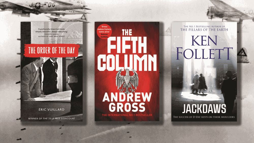 Covers of The Order of The Day, the Fifth Column and Jackdaws on a background showing WW2 fighter planes
