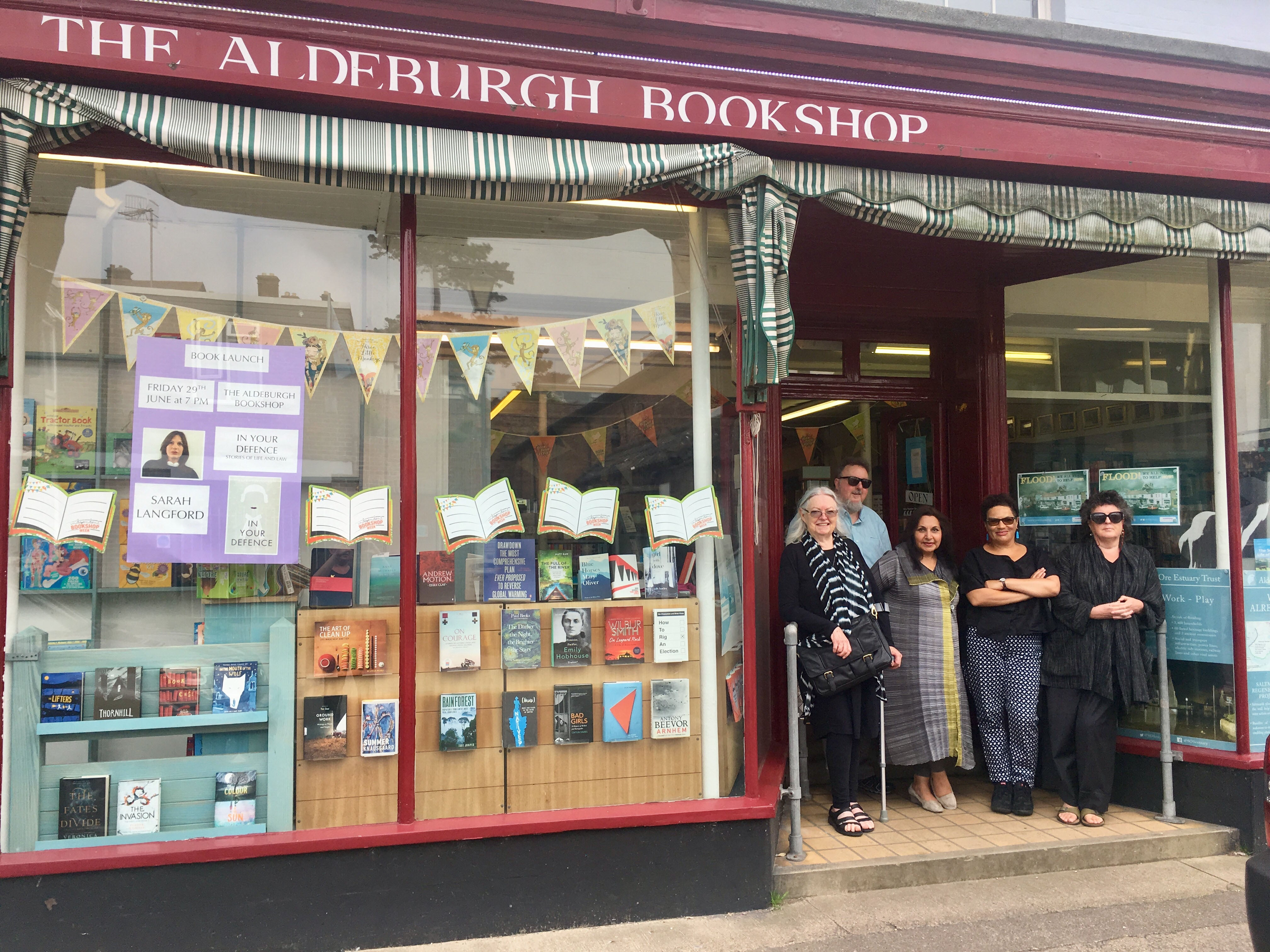 The poets outside the Aldeburgh bookshop