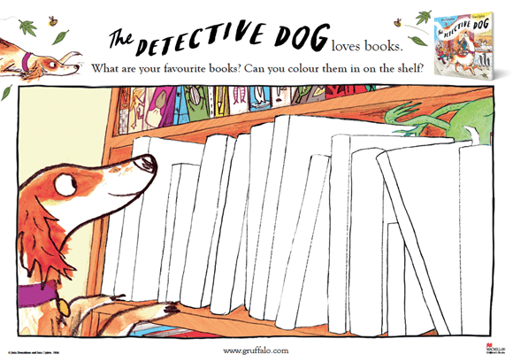 Activity Sheet - Favourite Books colouring - Detective Dog