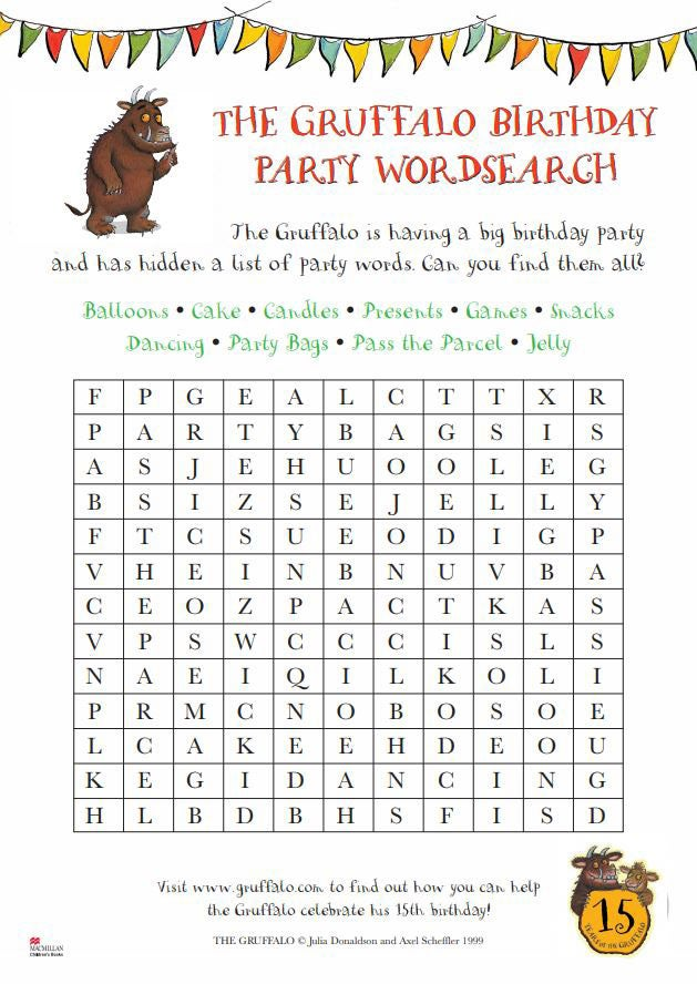 Activity sheet - wordsearch activity sheet - The Gruffalo - Julia Donaldson - Axel Scheffler