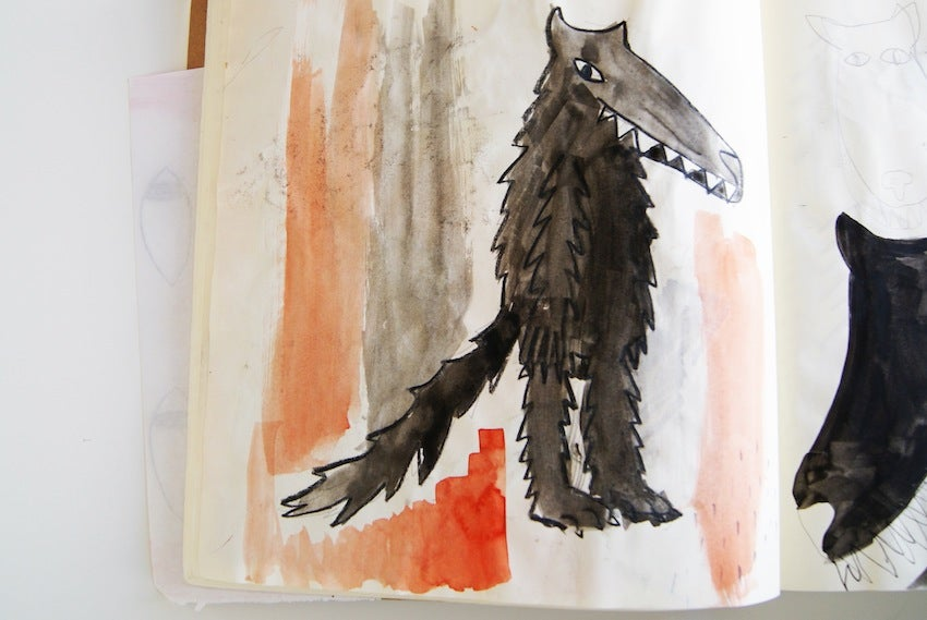 early version drawing of the wolf