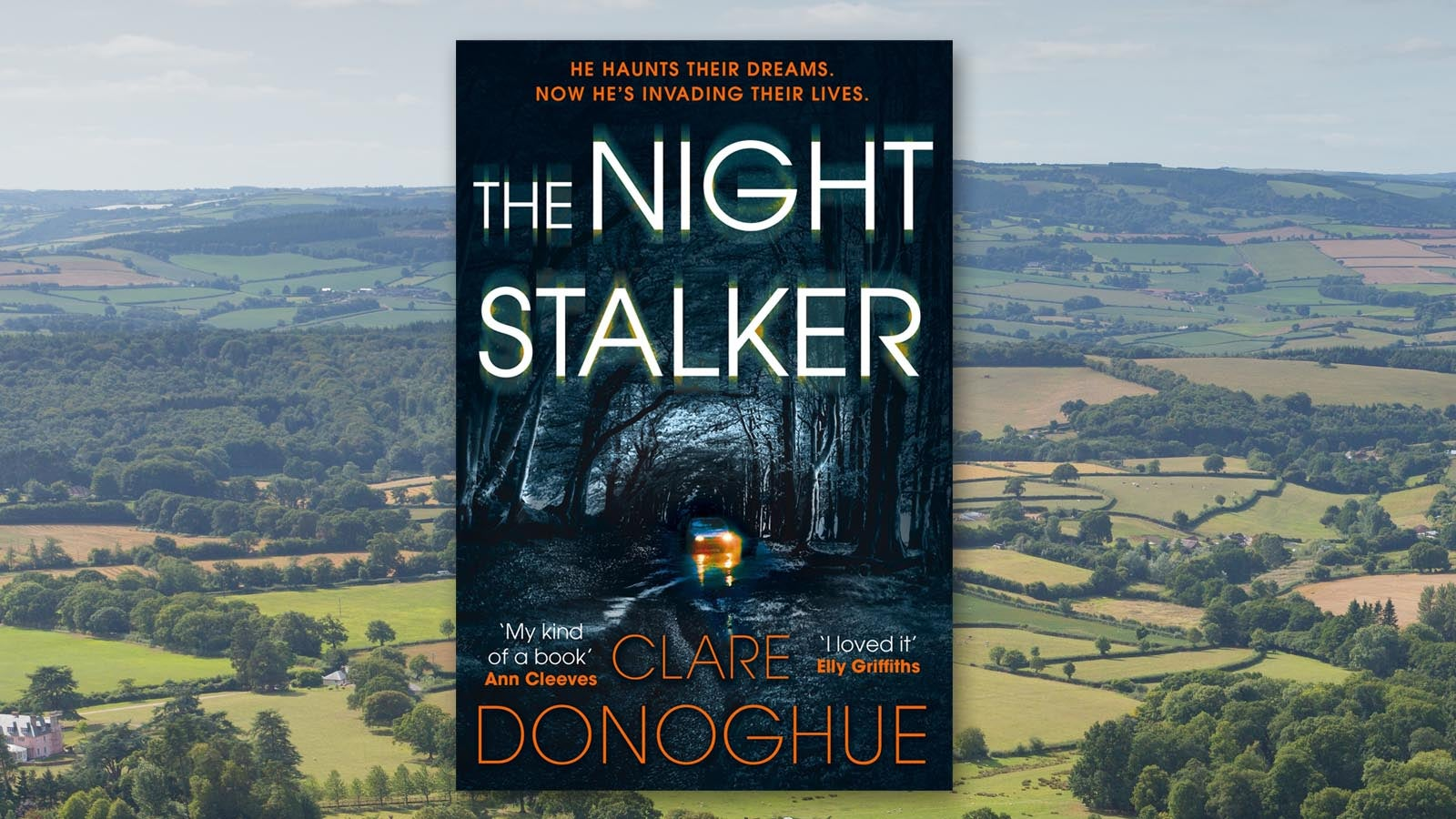 The Night Stalker by Clare Donoghue book cover on a background of fields