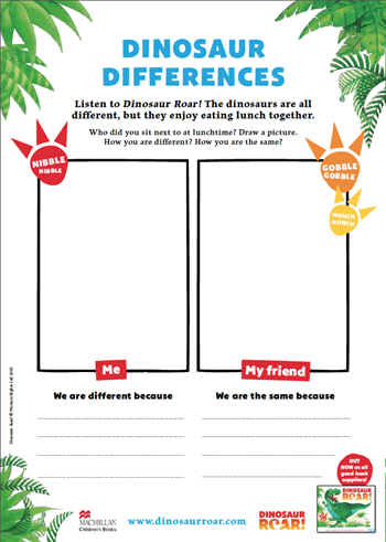 Draw the difference activity sheet, instructions for children to draw a picture of themselves and a picture of their friend and how they are different