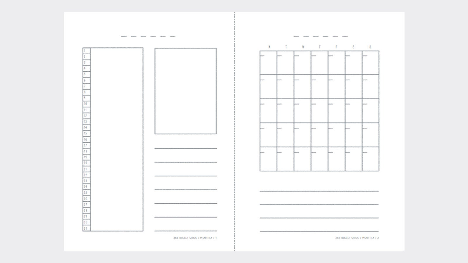 Monthly template for bullet journalling from The 365 Bullet Guide
