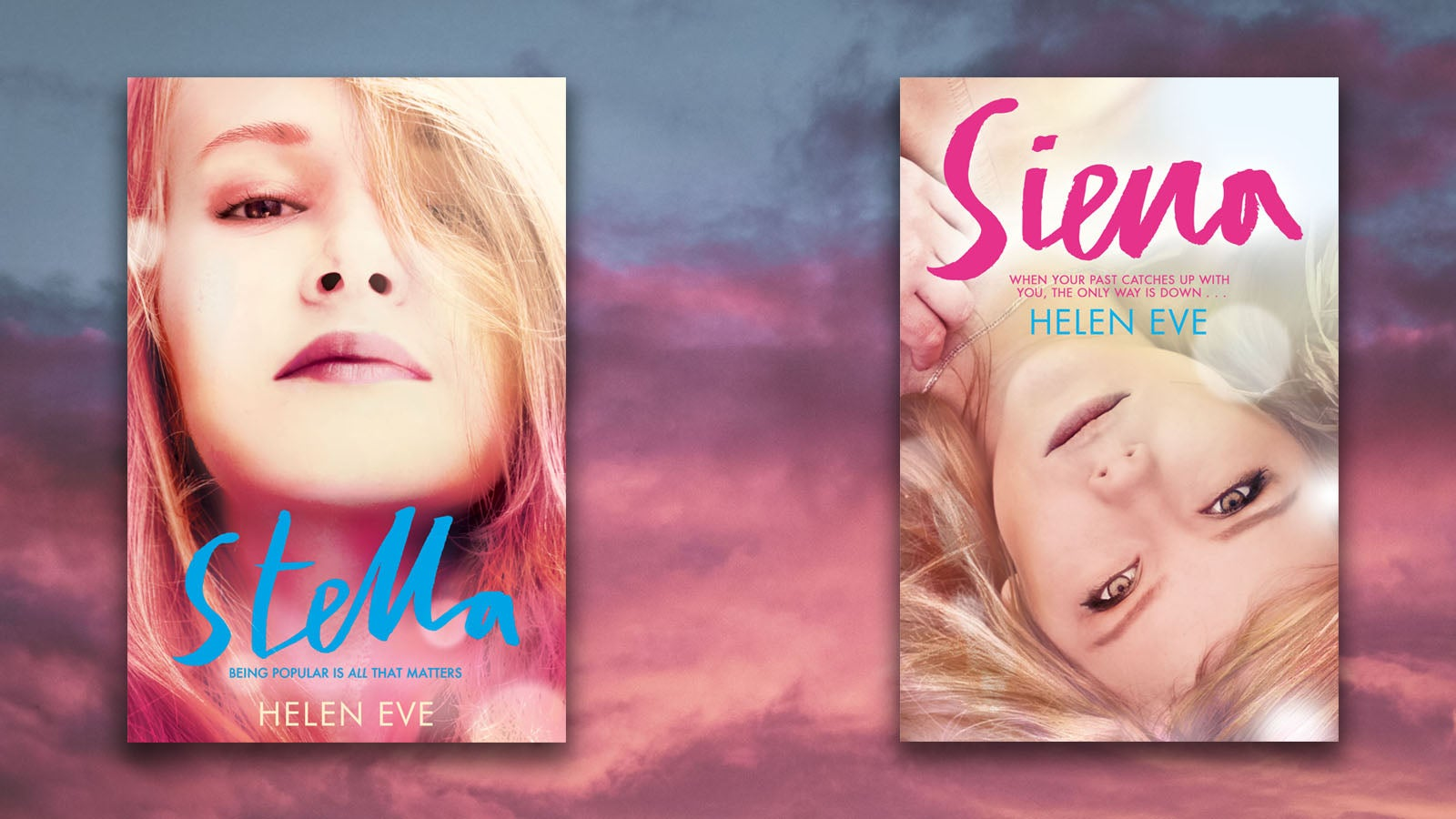 Stella and Sienna book jackets against a cloudy sky