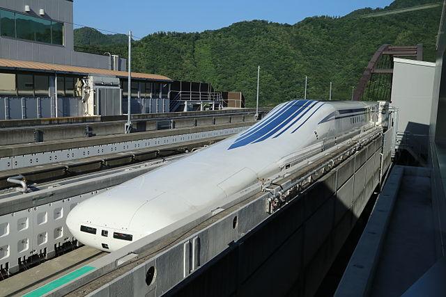 An L0 series maglev train on the Chuo Shinkansen test track in Yamanashi Prefecture, Japan