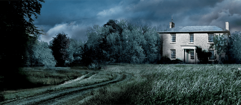 A housethat resembles White House Farm, at Night