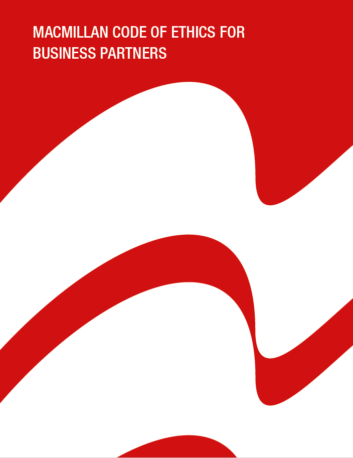 An image of the front cover of this document showing the Pan Macmillan logo and the words Macmillan Code of Ethics for Business Partners