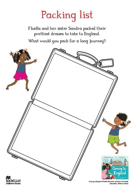 Coming to England packing list activity sheet