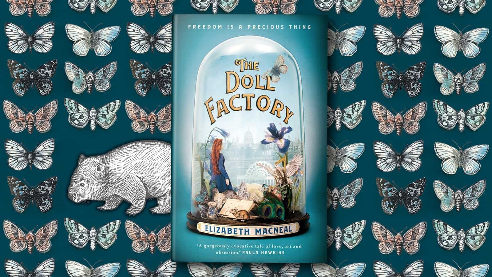 The Doll Factory book cover against an illustration of butterflies and a wombat