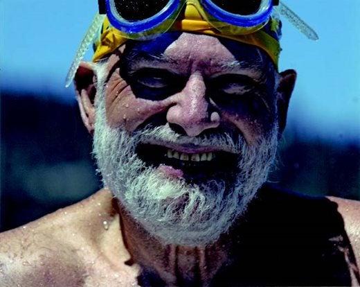 Oliver Sacks snorkelling at Lake Tahoe