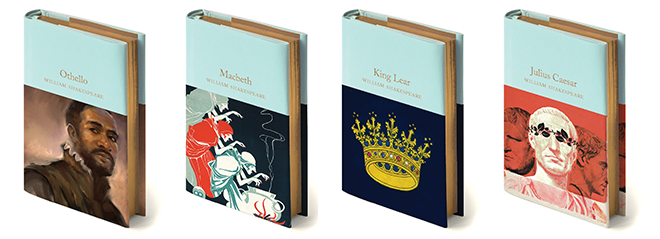 Books pictured include Othello, Macbeth, King Lear, Julius Caesar, Romeo and Juliet and Hamlet