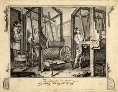 Hogarth's print of Spitalfields Weavers, part of his Industry and Idleness series