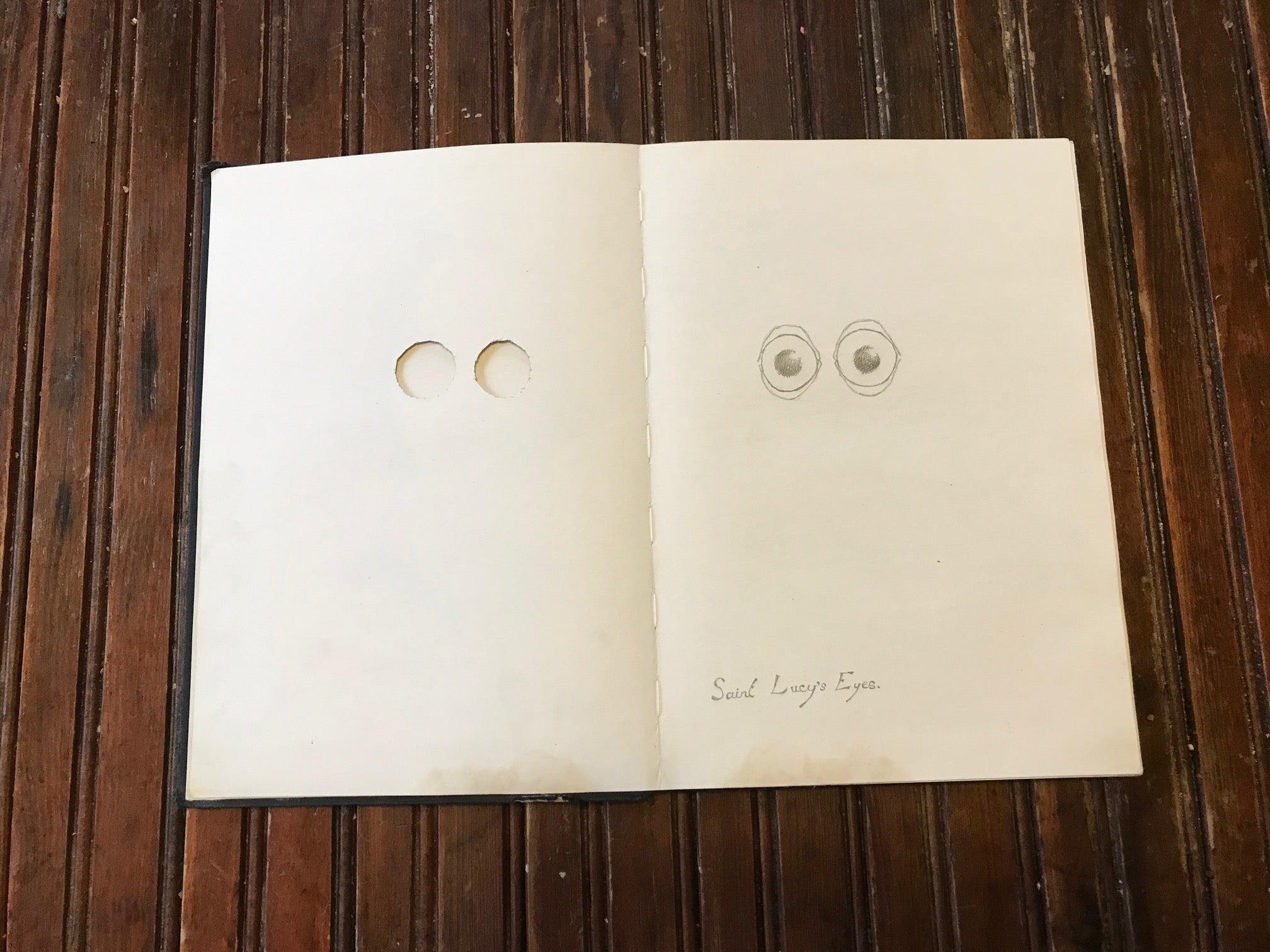 Saint Lucy's eyes drawing by Edward Carey
