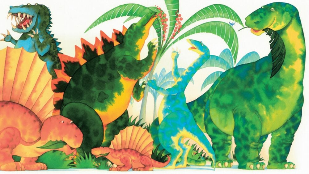 colourful illustration of friendly dinosaurs eating plants