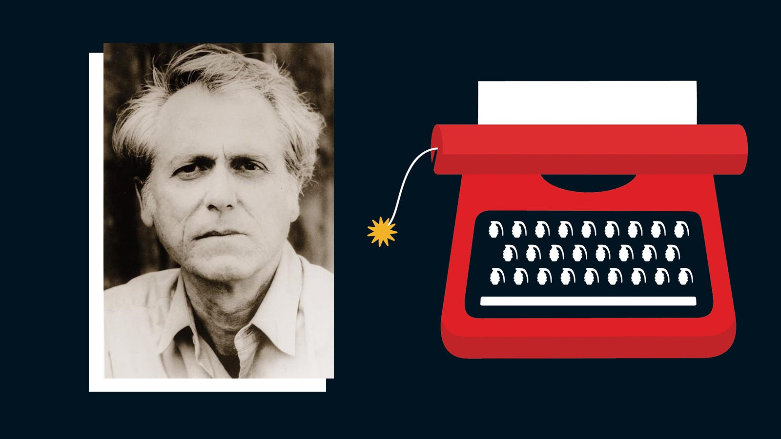 A black and white photograph of author Don DeLillo next to a red illustration of a typewriter