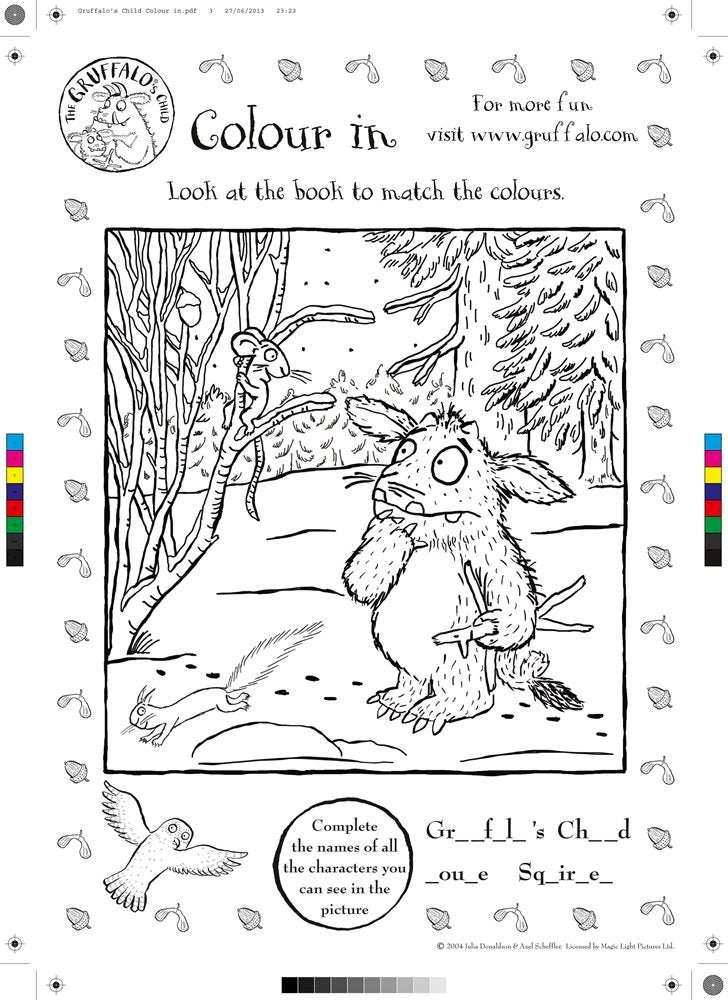 Colouring in sheet showing the Gruffalo's child and the Mouse in the woods