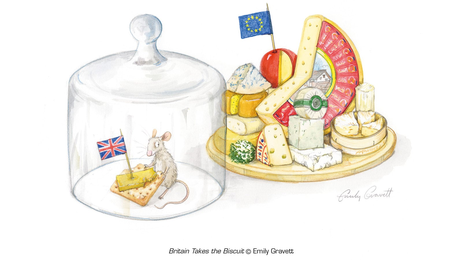 Illustration of mouse eating a small piece of cheese alone with a Union Jack, while the EU shares a huge cheese plate