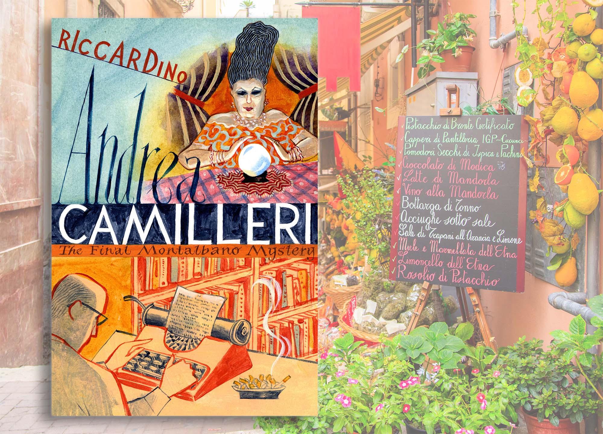 Riccardino by Andrea Camilleri next to a Sicilian restaurant with a blackboard menu