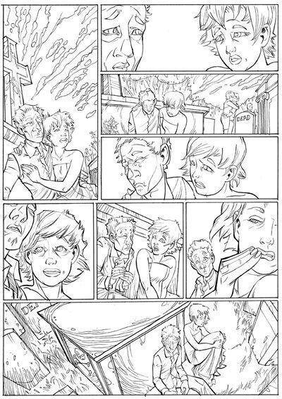 Black and white ink drawn page from Dan and Sam