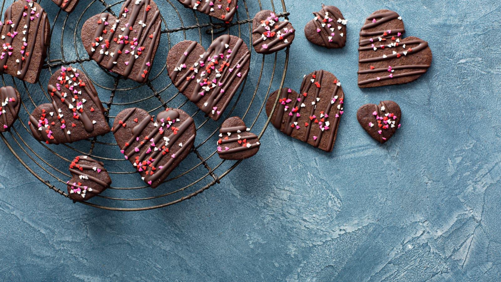 Chocolate heart-shaped cookies.