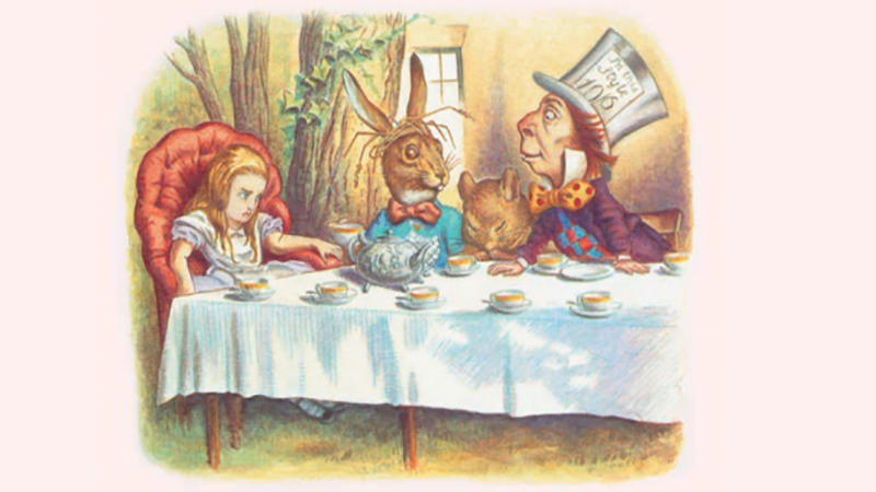 Illustrated image of Alice at the Mad Hatter's Tea Party