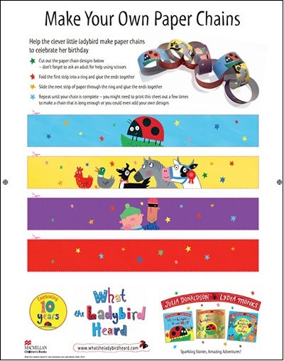 Activity sheet - paper chains - What the Ladybird Heard - Julia Donaldson - Lydia Monks
