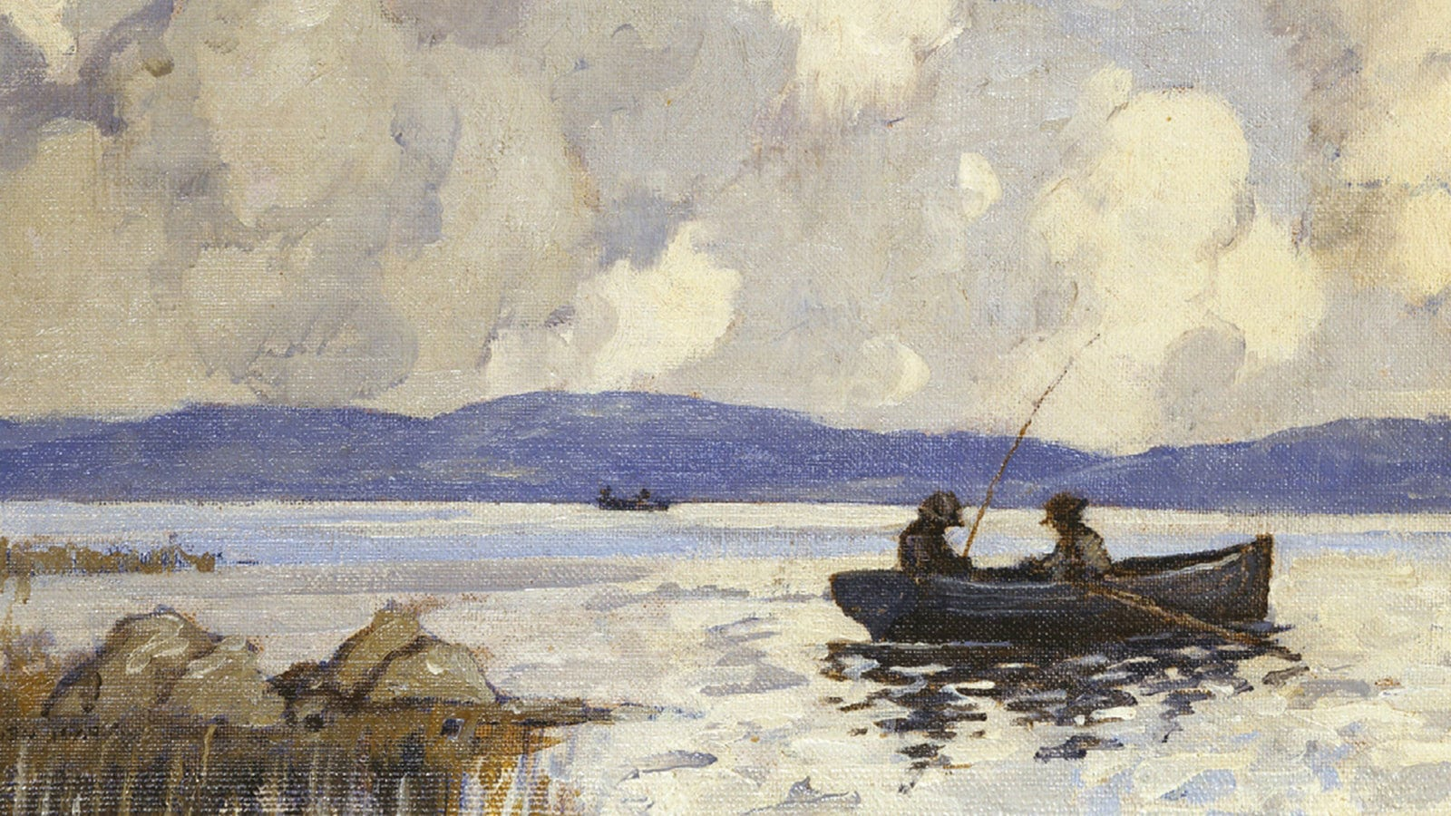 A watercolour painting of two fisherman on a boat in a river