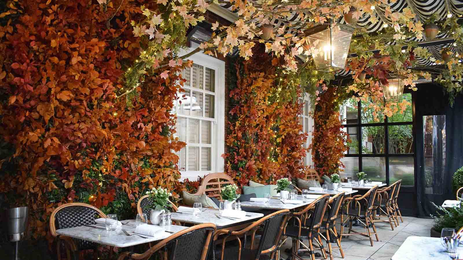 Bloomsbury Hotel's Dalloway terrace cafe in autumn