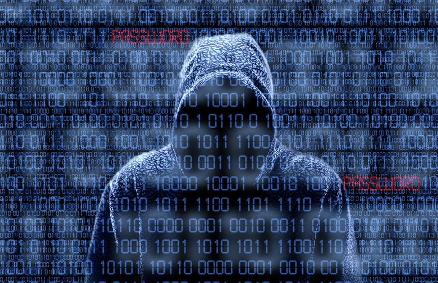 Hooded figure with binary numbers in black and white running across the screen and the word password in red
