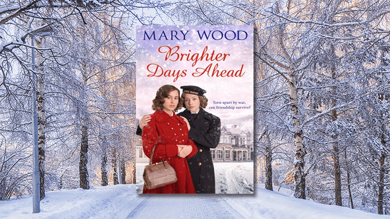 Mary Wood Brighter Days Ahead book cover with snowy winter trees as background