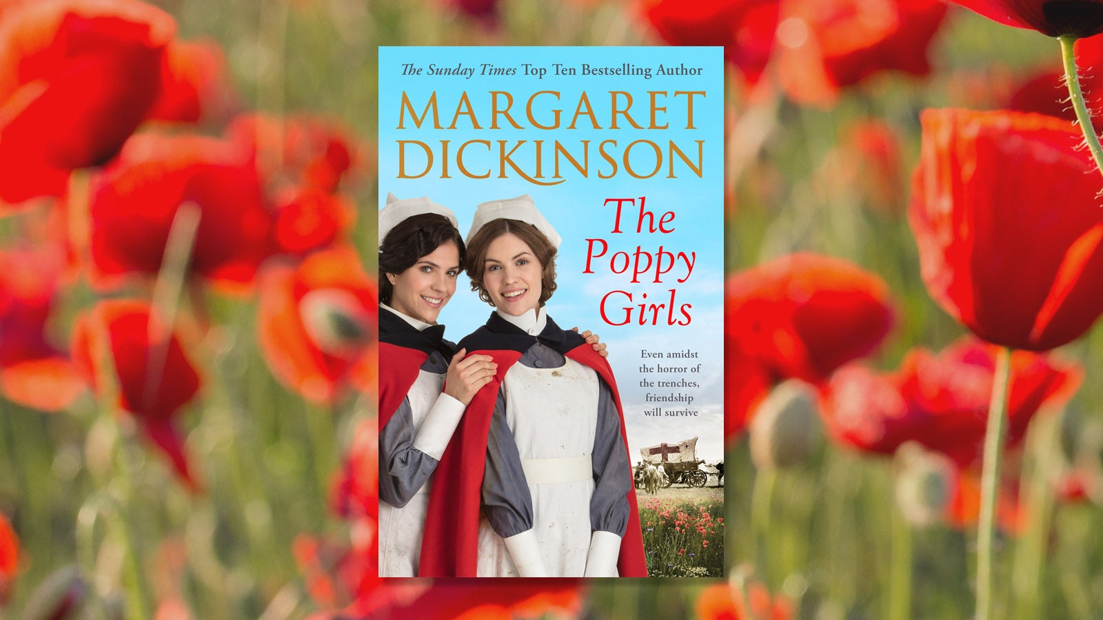 Margaret Dickinson The Poppy Girls book cover with a background of poppies