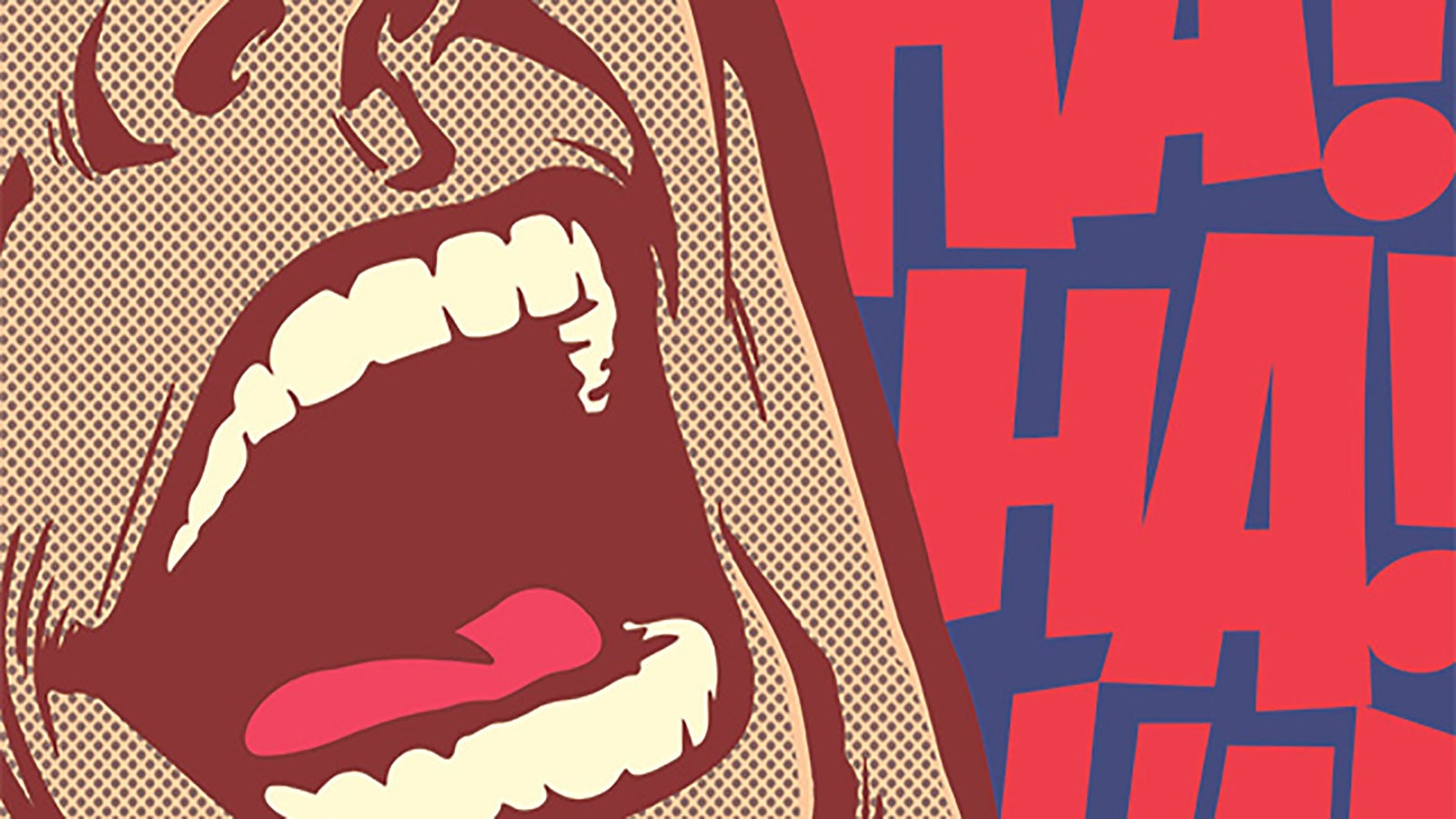 A pop-art style illustration of man laughing with the words 'HA! HA! HA!' emblazoned behind him.