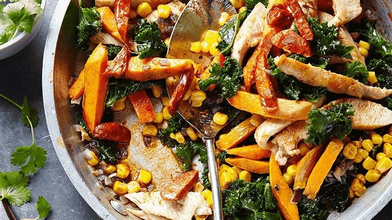 Chorizo, turkey and sweet potato hash
