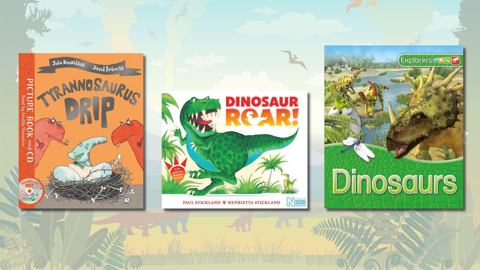 Book covers of Tyrannosaurus Drip, Dinosaur Roar! and Explorers: Dinosaurs