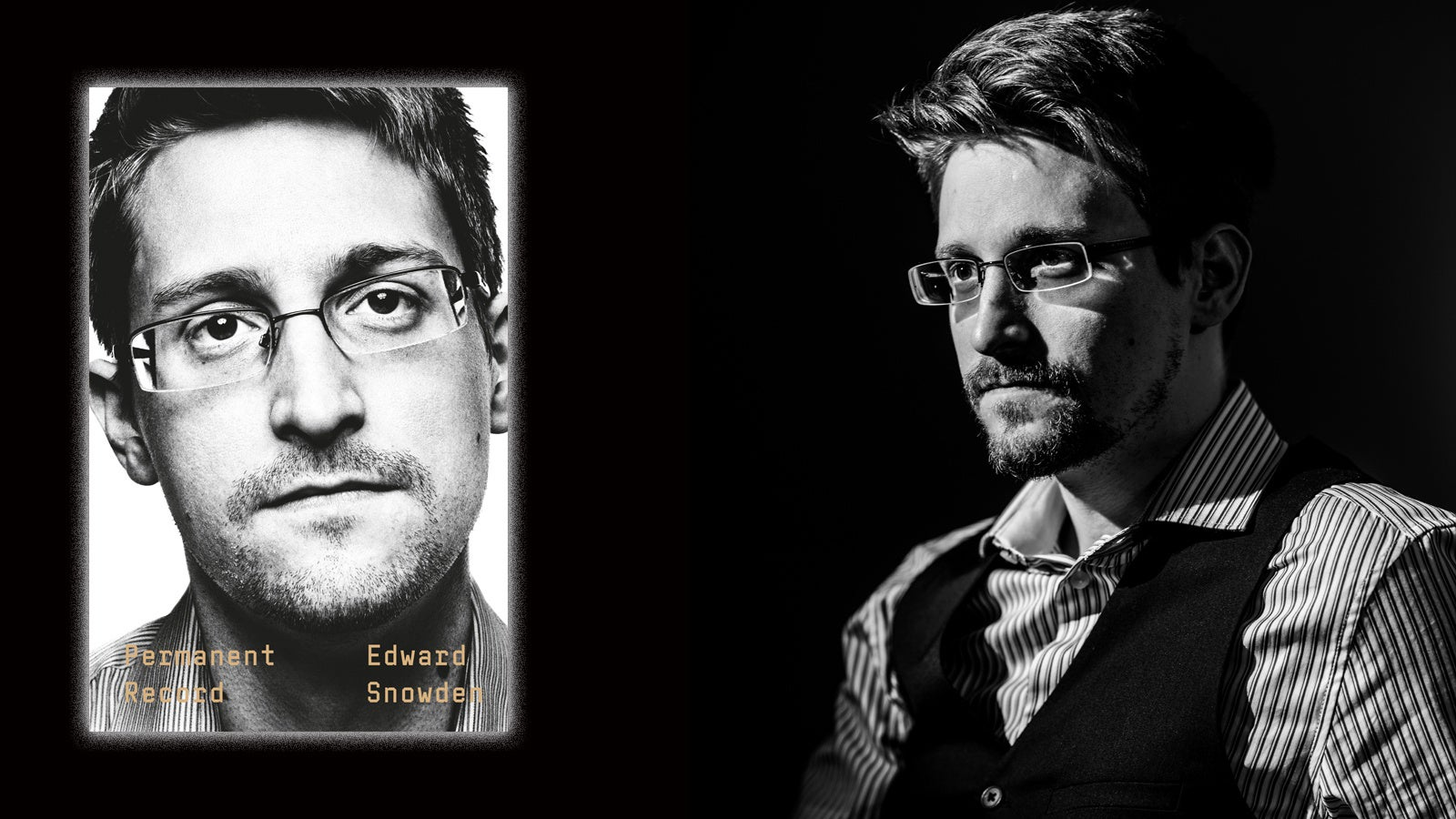 Image of Permanent Record book cover, next to image of Edward Snowden