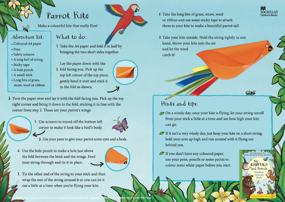 Activity Sheet - Parrot Kite - The Gruffalo and Friends Outdoor Activity Book - Julia Donaldson - Axel Scheffler