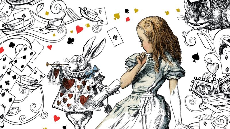 Alice in Wonderland, White Rabbit and Cheshire Cat illustrations