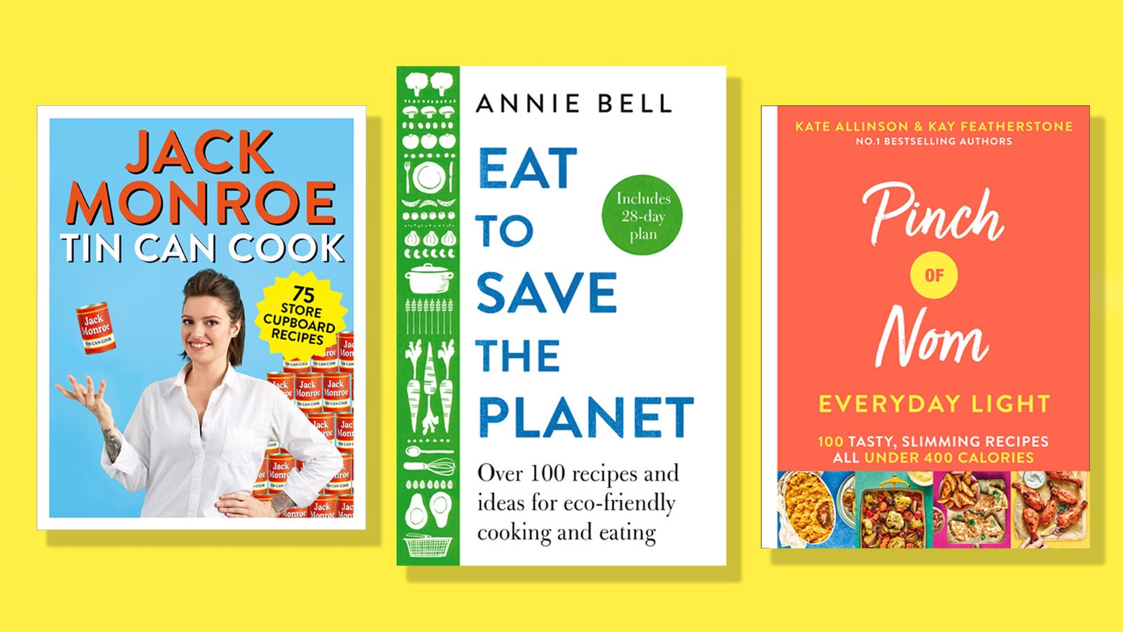 Tin Can Cook, Eat to Save the Planet and Pinch of Nom Everyday Light book covers