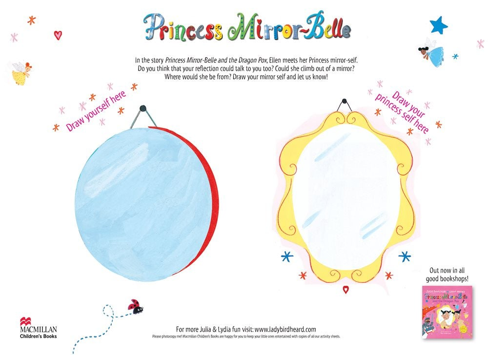 two mirrors side-by-side for children to draw themselves and their princess selves