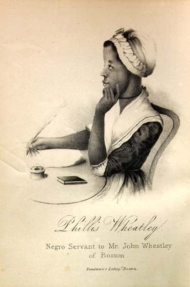 Black and white illustration of Phillis Wheatley writing at a desk and holding a quill looking pensive, whilst wearing in a housemaid's uniform.