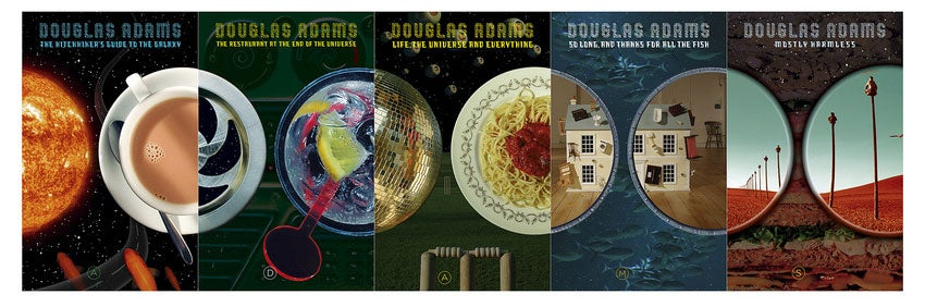 The Hitchhiker's Guide to the Galaxy series designed by Storm Thorgerson.