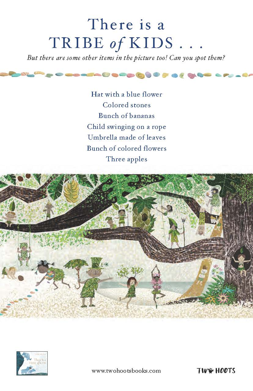 An illustrated scene showing a tribe of kids on the forest and many other items for children to find