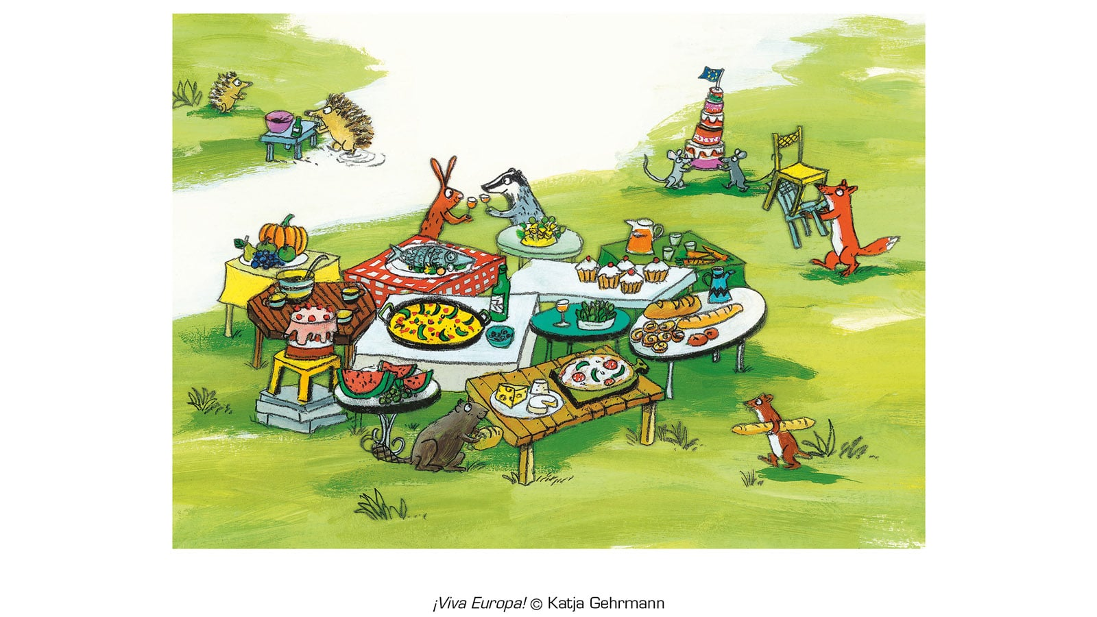 Hedgehogs leave the other animals sharing a feast under a EU flag to eat their small meal alone