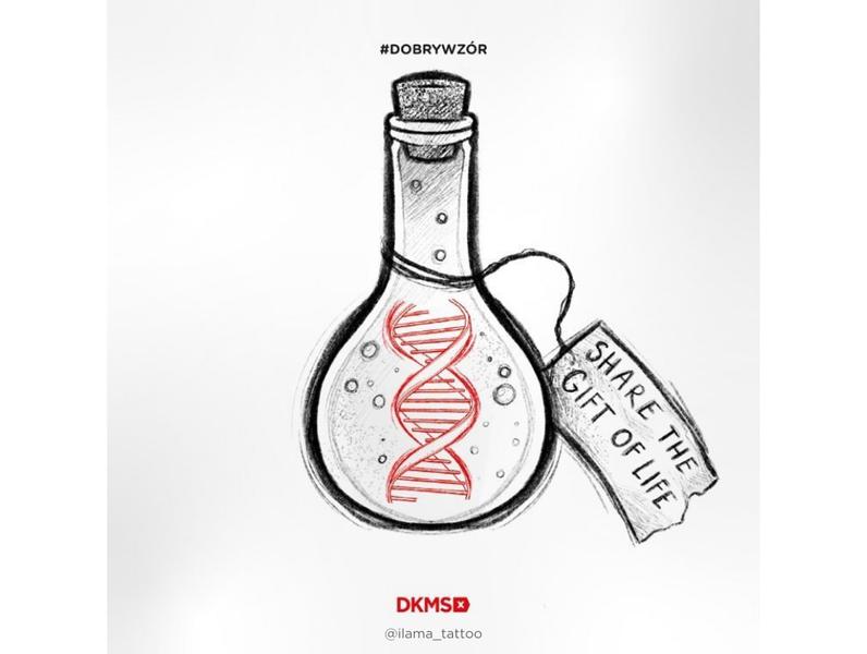 Grafika #dobrywzór - @ilama_tattoo dla Fundacji DKMS
